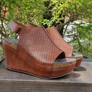 Womens Platform Wedge Sandals Perforated Whiskey